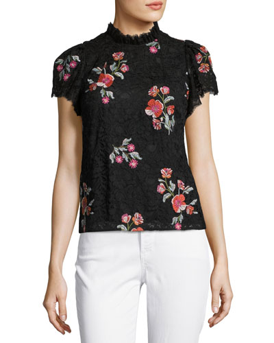 Short-Sleeve Floral-Embroidered Lace Top, Black