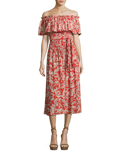Cherry Blossom Off-the-Shoulder Silk Dress, Multi