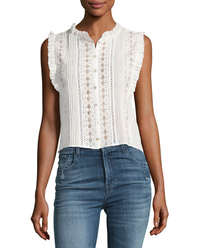 Sleeveless Voile and Lace Top, White