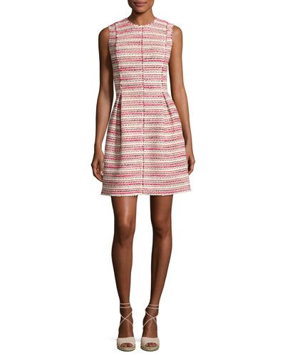 Sleeveless Optic Tweed Mini Dress, Pink-Multi