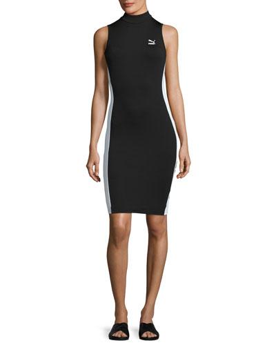 T7 Sleeveless Turtleneck Dress, Black
