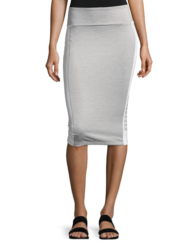 Archive Logo Pencil Midi Skirt, Light Gray