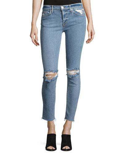 Nico Mid-Rise Ankle Raw-Hem Super Skinny Jeans, Indigo