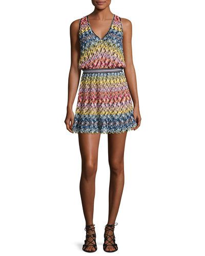 Pizzo Onda Multicolor V-Neck Coverup Dress, Multicolor