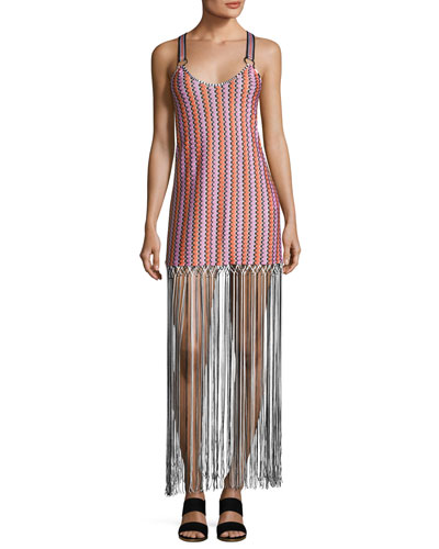 Grechina Tricolor Sport-Strap Long Fringe Dress, Multi
