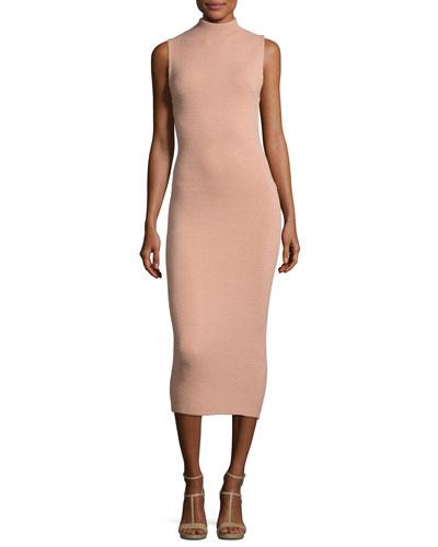 Hana Mock-Neck Sleeveless Midi Dress