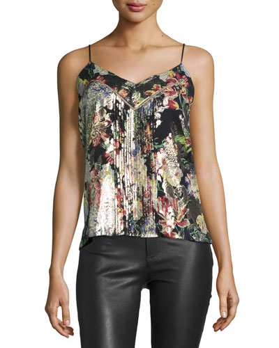 Pintucked Floral Silk Camisole, Peggy Lee