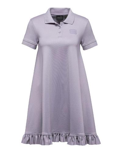 Polo Short-Sleeve Swing Mini Dress, Light Purple