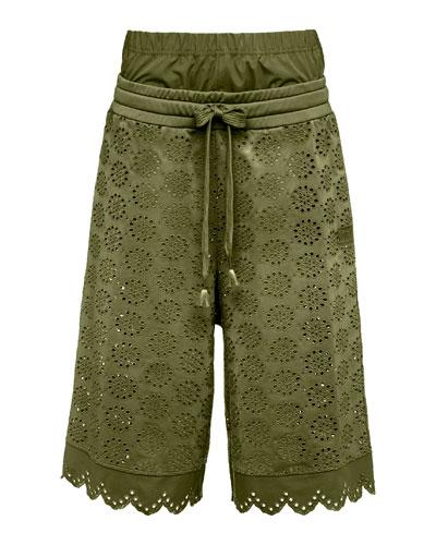Tricot Eyelet Basketball Shorts, Green