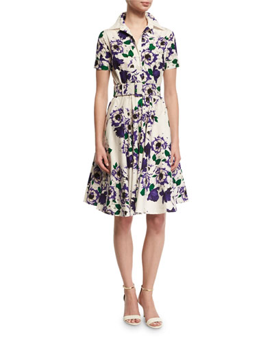 Gigi Short-Sleeve Floral-Print Shirtdress, Purple