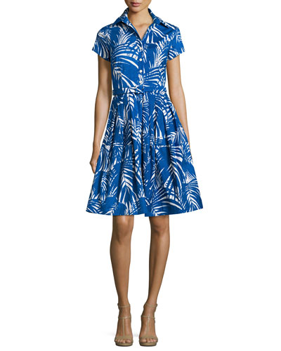 Claire Palm-Print Short-Sleeve Shirtdress, Blue