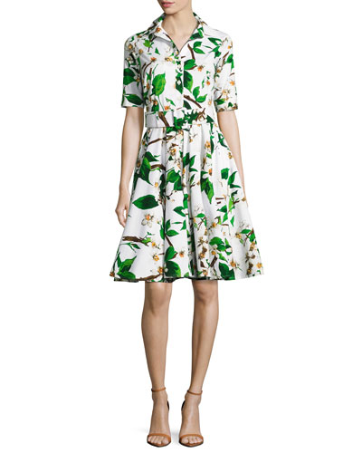 Gigi Half-Sleeve Floral-Print Shirtdress, White