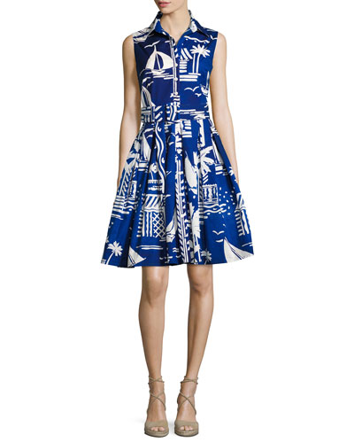 Kelly Sailing-Print Sleeveless Shirtdress, Blue