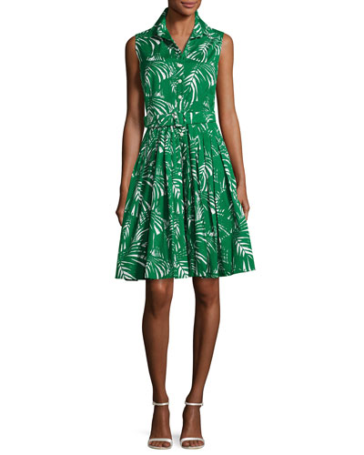 Audrey Palm-Print Sleeveless Shirtdress, Green Pattern