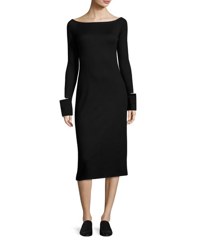 Bateau-Neck Split-Off Cuffs Fitted Midi Dress, Black
