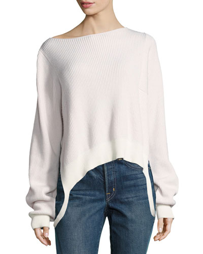 Essential Rib-Knit Pullover Sweater, Ivory