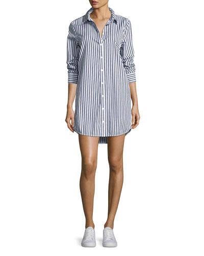 Carmine Striped Cotton Shirtdress, Multi Pattern