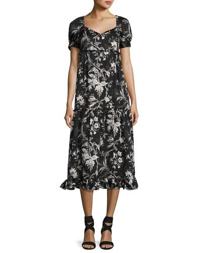 Ruffle Floral-Print N??glig??e Dress, Black