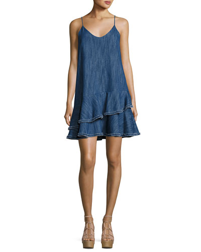Evangeline Drop Waist Denim Dress, Blue