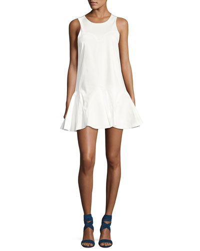 Alexia Sleeveless Knot-Back Mini Dress, White