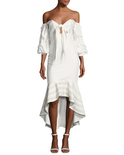 Zuki High-Low Off-the-Shoulder Dress, White