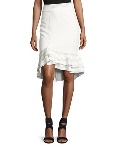 Cynda Ruffled Peplum Skirt, White