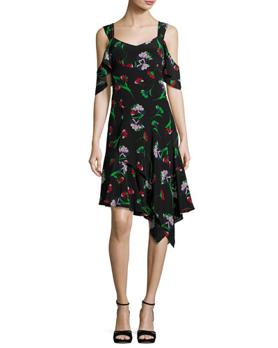 Sultry Sunset Floral Silk Cold-Shoulder Dress, Black/Multicolor