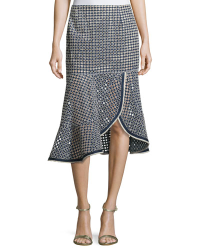 Surfside Eyelet Mid Skirt, Chambray