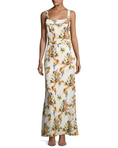 Floral-Print Overall Silk Gown, Multi
