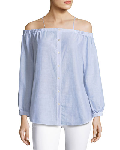 Vivien Button-Down Striped Poplin Top, Blue