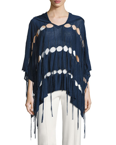Patriot Fringe Hooded Poncho, Blue