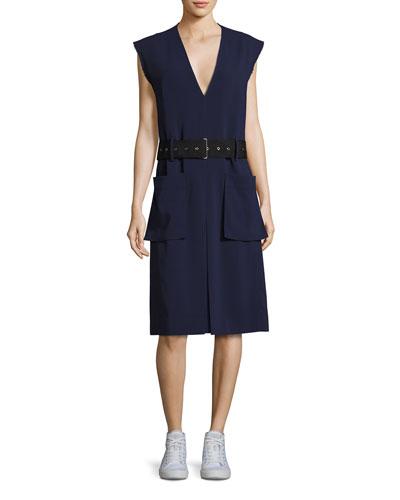 Tamir V-Neck Belted Crepe Dress, Dark Blue