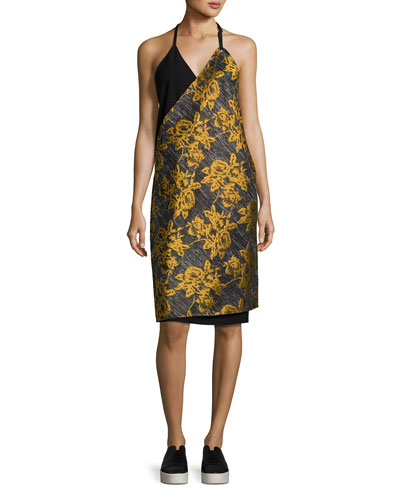 Lonia Halter Neck Combo Midi Dress, Multipattern