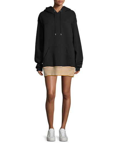 Zita Hoodie Striped Hem Sweatshirt Dress, Black