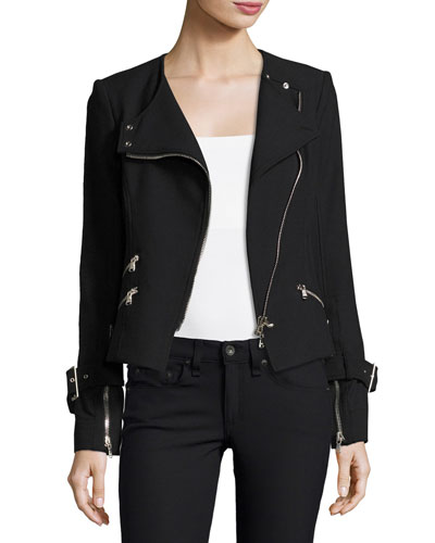 Jordan Collarless Moto Jacket, Black