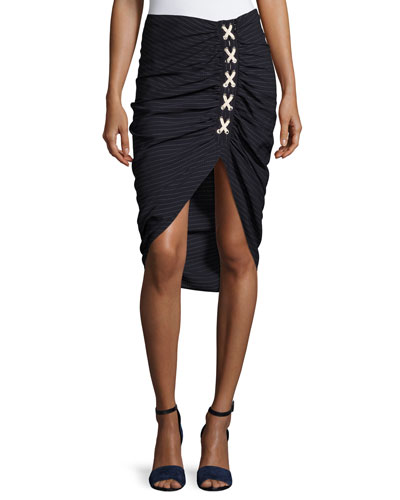 Marlow Striped Lace-Up Ruched Skirt, Navy