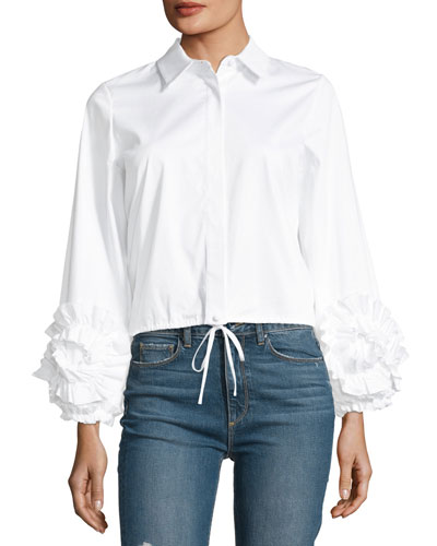 Cloe Poplin Button-Front Shirt