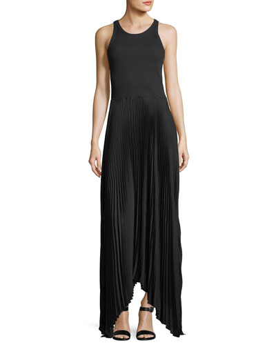 Vinessi Mixed Rib-Knit Pleated Skirt Maxi Dress