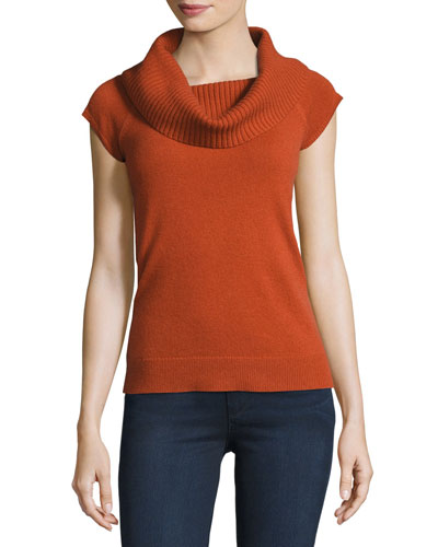 Aflina Cowl-Neck Cashmere Sweater, Orange