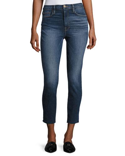 Ali High-Rise Skinny Cigarette Cropped Jeans, Blue