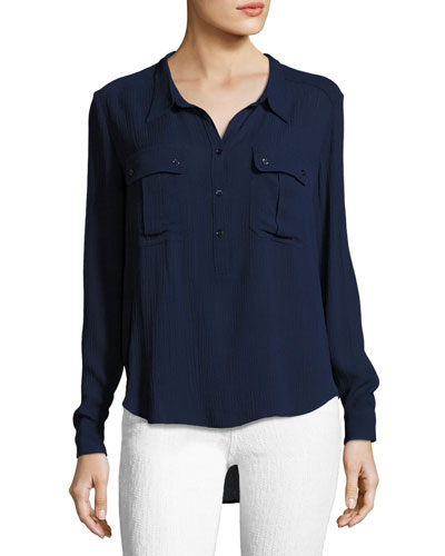 Nevada Henley Pullover Shirt, Blue