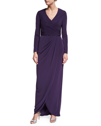 Long-Sleeve Beaded Jersey Faux-Wrap Dress, Plum