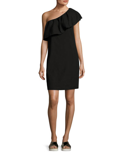 One-Shoulder Ruffle Mini Dress, Black