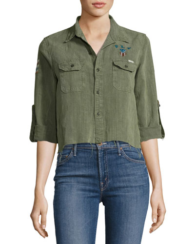 Mother Militarys TROOPER CROP FRAY TOP, GREEN