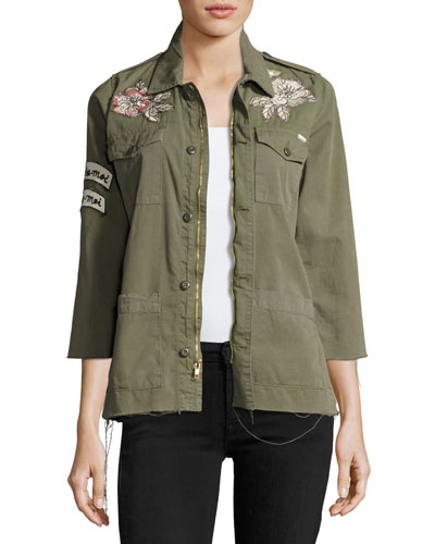 Mother Militarys TOP BRASS FRAY UTILITY JACKET, GREEN