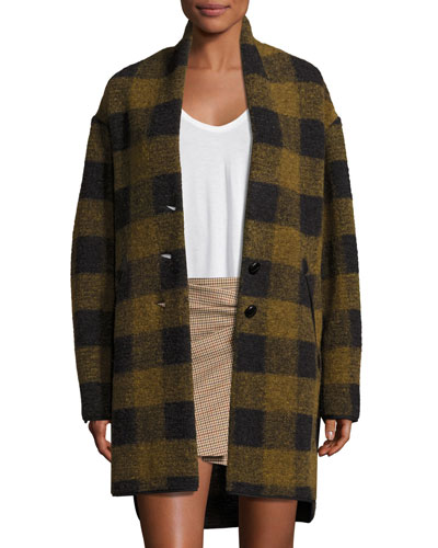 Gino Oversized Plaid Wool Jacket, Green