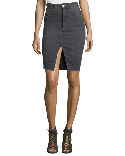 Chadow High-Waist Pencil Denim Skirt