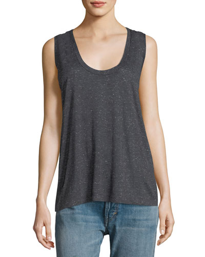 Ricky Scoop-Neck Sleeveless Speckled Tank