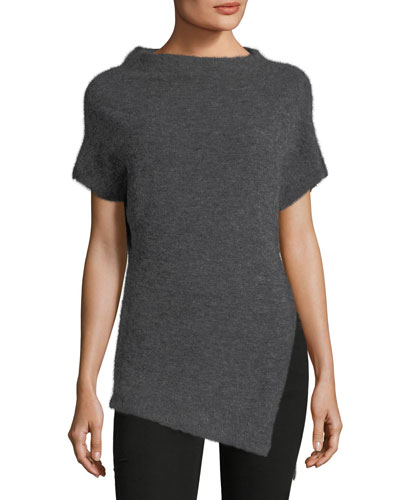 Clifford High-Neck Short-Sleeve Alpaca-Wool Top