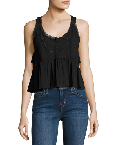 The Lace Scoop-Neck Tank Top, Black